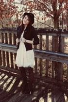lace f21 dress - Target hat - pleather Target jacket - Target heels