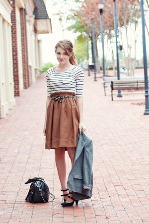 H&M skirt - striped f21 shirt - theIT bag - UO pumps