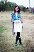 Hunter boots - vintage dress - Old Navy scarf