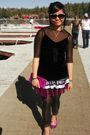 Pink-skirt-black-leggings-pink-shoes-pink-purse-black-blouse-black-blo