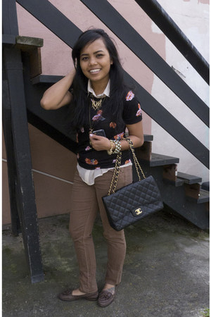 floral StyleMint shirt - Forever21 shirt - tan brown Forever21 jeans