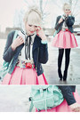 Black-leather-jacket-oasap-jacket-aquamarine-mini-bag-bag