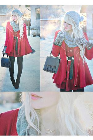 red dresses OASAP dress - red outwear Choies coat - silver OASAP hat