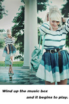 aquamarine mini skirt OASAP skirt - teal denim skirt Self Made skirt