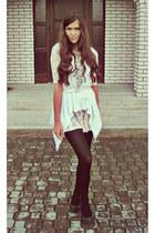 neutral lace H&M dress - eggshell second hand belt - gray random brand flats