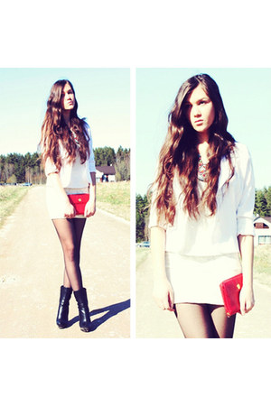 white satin blazer - red leather Pierre Balmain bag