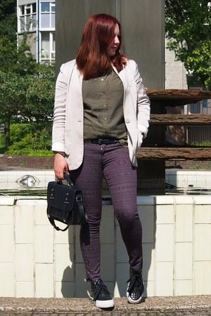 Primark bag - H&M blazer - H&M pants - H&M blouse - bronx sneakers