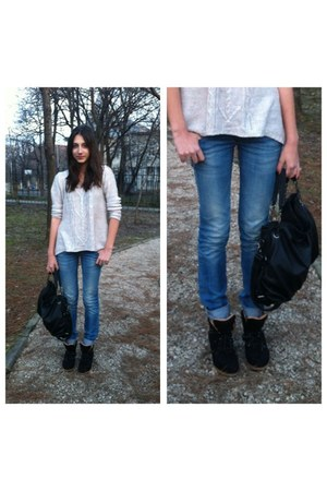 beige reserved sweater - sky blue Zara jeans - dark gray Zara bag