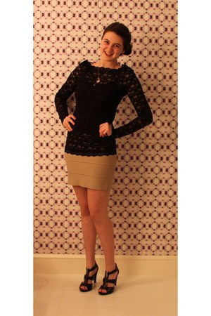 tan BCBG skirt - black free people blouse - black Michael Kors heels