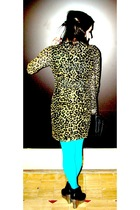 blue Urban Outfitters tights - gold Rodarte for Target dress - black Jeffrey Cam