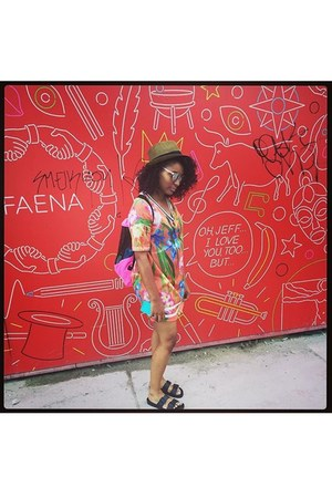 River Island dress - woven  tan Forever 21 hat - Victorias Secret bag