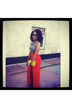 Missguided skirt - H&M purse - round framed H&M sunglasses - Zara sandals
