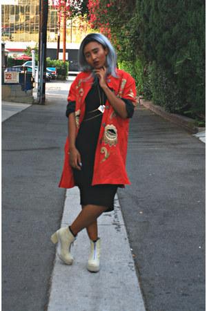 red vintage jacket - cream leather Miista boots - black Silence  Noise dress