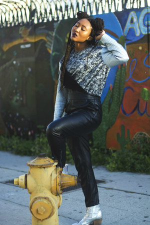 silver YRU shoes - black Rehab bodysuit - blue Kenzo top