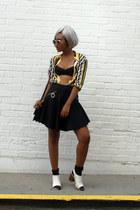 black leather H&M jacket - white Zara boots - black crossbody Hermes bag