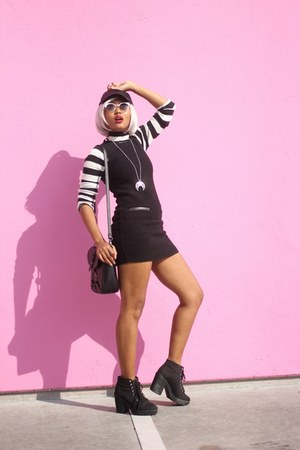 black h&m divided boots - black wool Theory dress - black Silence & Noise hat