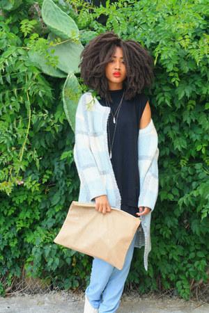 blue JOA coat - dark khaki American Apparel bag - blue loose cotton m H&M pants