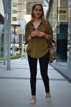 olive green Ericdress blouse