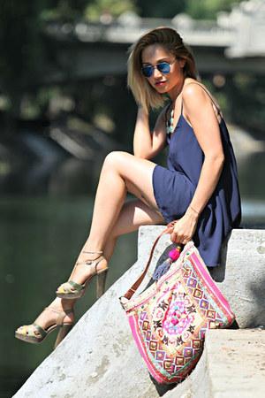 Accessorize bag - navy OASAP dress - BBup sandals