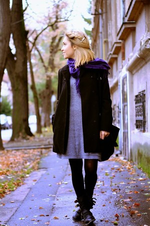 Zara dress - black Mango coat - meli melo accessories