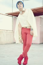 ruby red Dorothy Perkins jeans - red michael antonio wedges - diva accessories