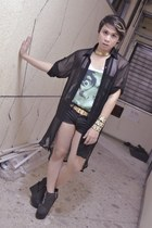 black next shorts - white Art Works t-shirt - black sheer polo WAGW top
