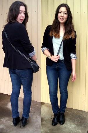 vintage blazer - indigo Valleygirl jeans - gold cuff Equip bracelet