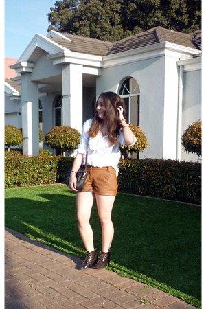 bronze Faux Leather Shorts shorts - white shirt shirt