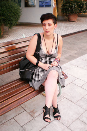 gray DIY dress - black shoes - black H&amp;M purse - Rossella Carrara bracelet