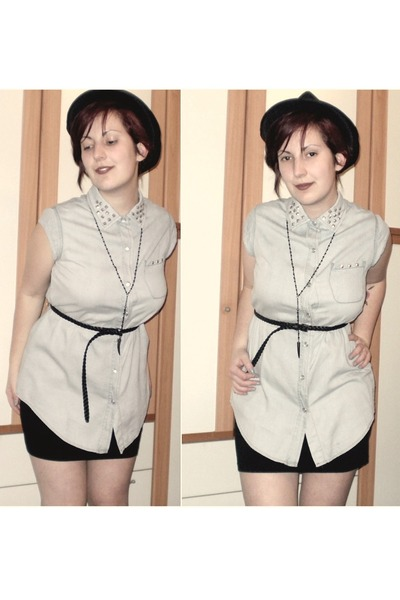 sky blue studded DIY shirt