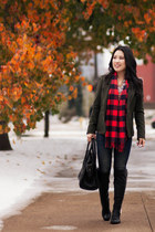 maroon buffalo plaid Gap scarf - black Vince Camuto boots - navy BDG jeans