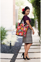 brick red Vera Bradley purse - black Banana Republi skirt - crimson Zara top