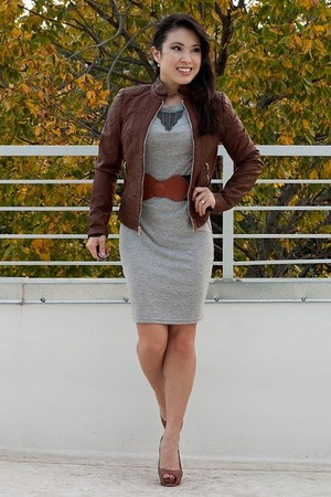 burnt orange Express jacket - heather gray Lulus dress - burnt orange Charlotte