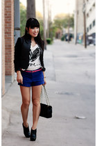 black ankle boots Jessica Simpson shoes - gray scalloped H&M jacket