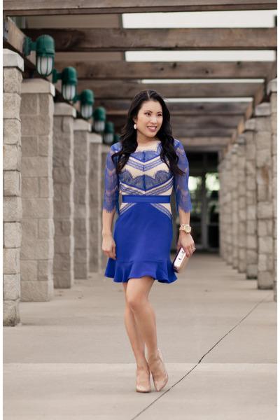 blue eyelash lace Chicwish dress - neutral Via Spiga heels