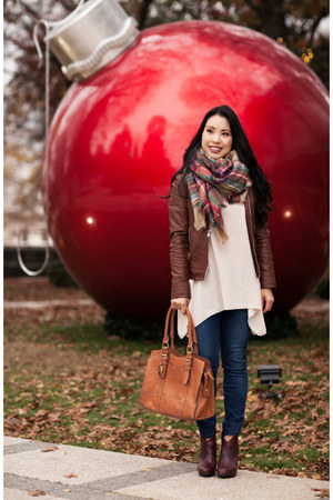 ruby red Zara scarf - crimson Jessica Simpson boots - navy Henry & Belle jeans
