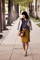 mustard J Crew skirt - silver Forever 21 shoes