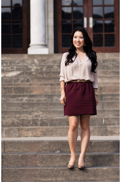 brick red Maje skirt - light brown patent Michael Kors shoes