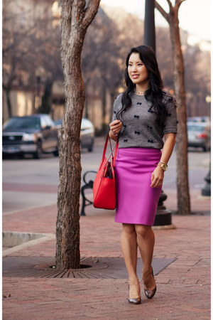 bubble gum J Crew skirt - red kate spade bag