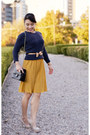 Navy-gap-sweater-black-chanel-purse-mustard-bow-forever-21-belt