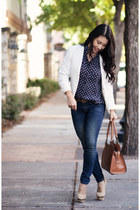 navy Urban Outfitters jeans - light orange Bakers shoes - white H&M blazer