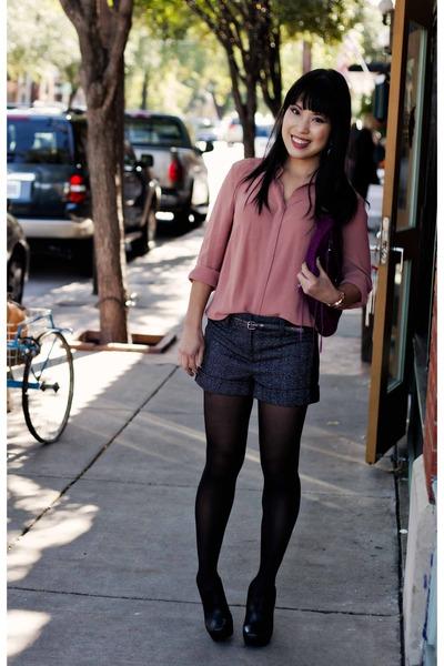 light pink chiffon sheer Forever 21 shirt - black Jessica Simpson boots