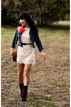 blue denim Forever 21 jacket - brown Jessica Simpson boots