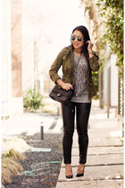 heather gray graphic tee JCrew shirt - olive green utility Forever 21 jacket