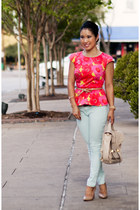 hot pink peplum Loft shirt - camel Via Spiga shoes