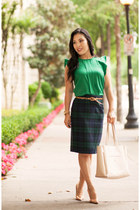 dark green plaid JCrew skirt - gold kate spade shoes - green OASAP shirt