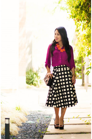 magenta Express shirt - white midi kate spade skirt