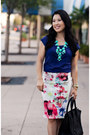 White-floral-forever-21-skirt-navy-the-limited-shirt-black-celine-purse