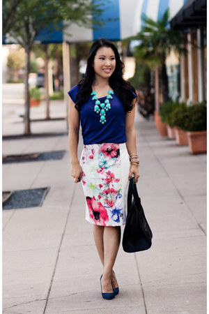 white floral Forever 21 skirt - navy The Limited shirt - black Celine purse
