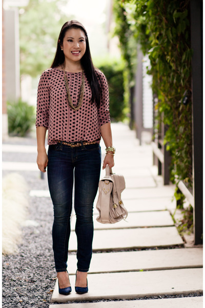 pink polka dot Loft top - navy Urban Outfitters jeans